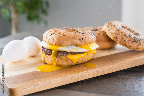 Staande foto Snack Sausage, Egg and Cheese Breakfast Sandwich