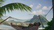 Tilt down to couple relaxing in hammock on ocean beach in Tahiti / Bora Bora, French Polynesia