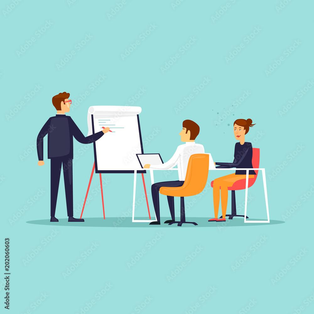 Business training, Courses, office life, meeting. Flat design vector illustration. - obrazy, fototapety, plakaty