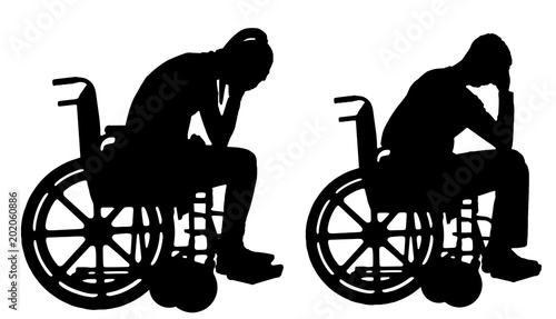 Valokuva  Silhouette vector of a sad disabled woman and man in a wheelchair crying