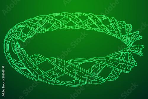 Foto op Plexiglas Groene Abstract wireframe mesh ring. Grid technology illustration data array. Vector illustration.