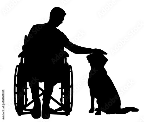 Silhouette vector disabled man in a wheelchair stroking his dog Canvas-taulu