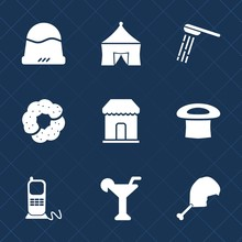 Premium Set With Fill Icons. Such As Style, Hygiene, Clothing, Drink, Wet, Hat, Fun, Phone, Recreation, Wash, Tent, Object, Food, Circus, Dessert, Communication, Water, Business, Shower, Shop, Chicken