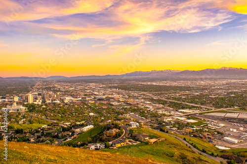 Foto op Canvas Oranje Beautiful Sunset in Salt Lake City, Utah