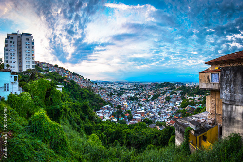 Panoramic View of Rio de Janeiro Slums on the Hill