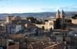 Vista de Toledo. Vista de tejados, puerta de Bisagra e iglesia de Santiago del Arrabal en Toledo. Castilla La Mancha. España.