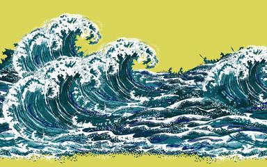 Sea waves. Hand drawn realistic vector illustration in oriental vintage ukiyo...