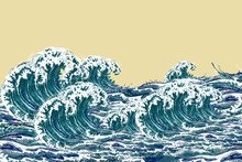 Sea Waves. Hand Drawn Realisti...