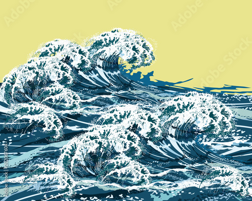 Sea storm waves. Hand drawn vector illustration, imitation of oil painting.
