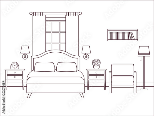 Bedroom Interior Hotel Room With Bed And Window Vector