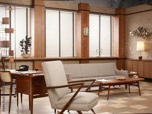 Furniture in retro style office