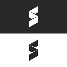 Modern S Letter Logo 3d Ribbon Isometric Broken Line Simple Shape, Creative Minimal Style Identity Mark