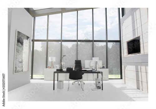 Photo of modern office with huge windows
