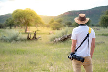 Young Man Traveler And Photographer Standing In Safari Looking At Wildlife Animals. Travel Safari In Africa Concept