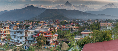 Poster Chicago pokhara nepal with machapuchare in distance