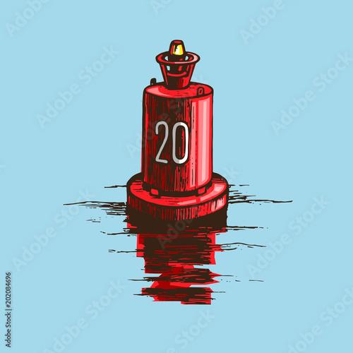 Photo Warning red buoy at the river banks