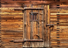 Wooden Jail Door And Building,...