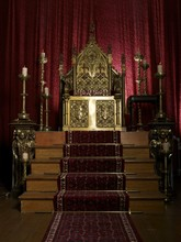 Ornate Gold Throne And Red Curtain