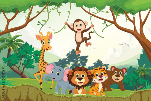 illustration of happy animal in the jungle #202087694