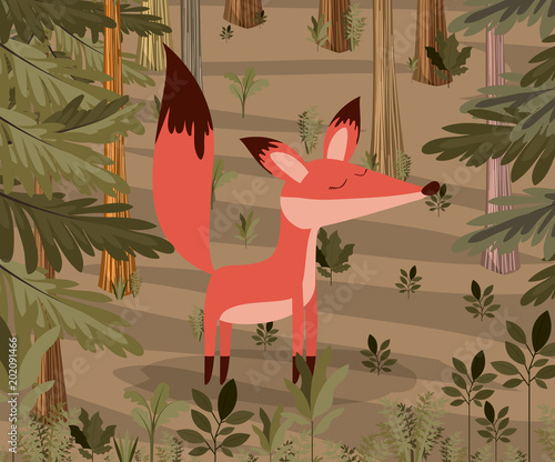 fox in the forest scene vector illustration design