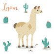 Bright poster with cute lama with cacti