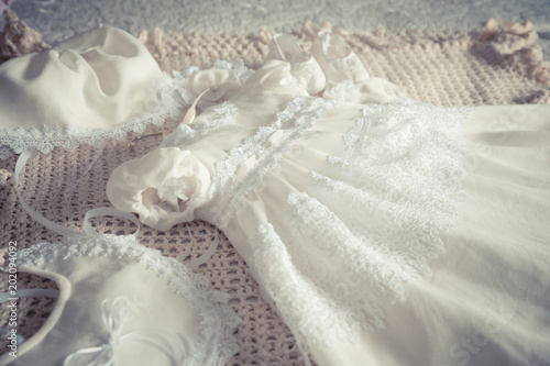Photo Baby girl's white lace fancy dress and accessories for Baptism christening