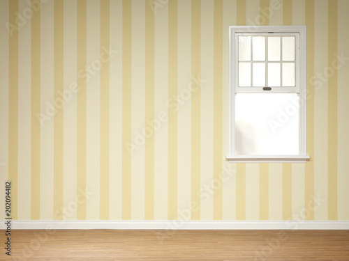 Striped wallpaper and window in empty room
