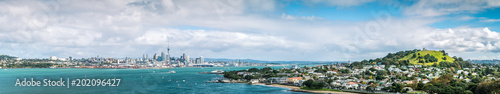 Panorama of Auckland Skyline from North Head on Bright Sunny Day Wallpaper Mural