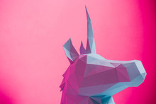 3D Paper Unicorn On Pink Backg...