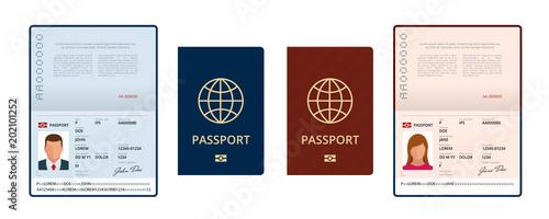 Fotografie, Obraz  Vector Blank open passport template