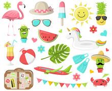Sommer Sonne Urlaub Sommerfest Ferien Icons Set