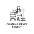 cleaning service concept thin line icon, sign, symbol, illustation, linear concept vector