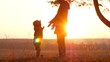 Silhouettes mother and baby sunset.