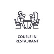 couple in restaurant thin line icon, sign, symbol, illustation, linear concept vector