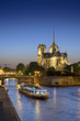 Notre dame de Paris by night and the Seine river with tourist boat, vertical