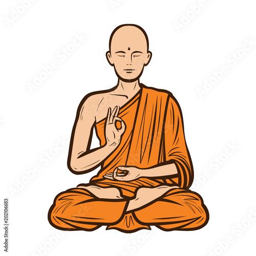 Fotografia  Buddhist in orange robe
