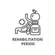 rehabilitation period thin line icon, sign, symbol, illustation, linear concept vector