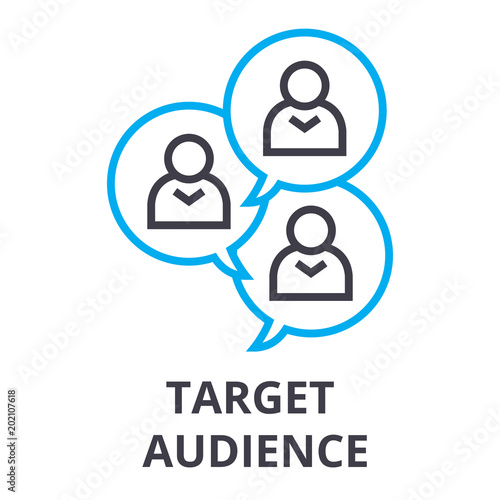 Photo target audience thin line icon, sign, symbol, illustation, linear concept vector