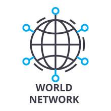 World Network Thin Line Icon, ...