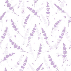 Panel Szklany Lawenda Lavender flowers light purple repeat pattern. Beautiful violet lavender retro background. Elegant fabric on light background Surface pattern design.