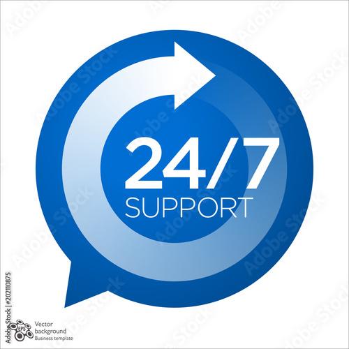 Fényképezés  Support Service icon, 24/7, 365 #Vector Graphics