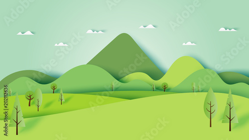 Poster Lime groen Green nature forest landscape scenery banner background paper art style.Vector illustration.