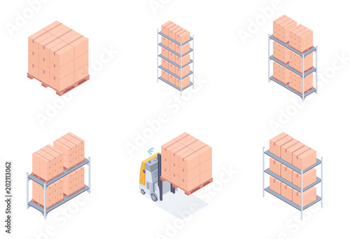 Stampa su Tela Set of warehouse units including racks with cardboard boxes, pallet racks, loaded wooden pallet and forklift