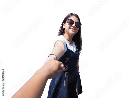 Fotografía  Smiling Asian cute girl with long hair pulling her friend hand isolated on white background