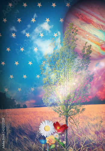 In de dag Imagination Fairyland - Starry night, tree and colored flowers