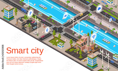 Spoed Foto op Canvas Zalm Vector isometric smart city concept. Illustration with 3d buildings, street roads with car navigation markers, factory, windmills, riverside embankment with ship, water vessel urban landscape template