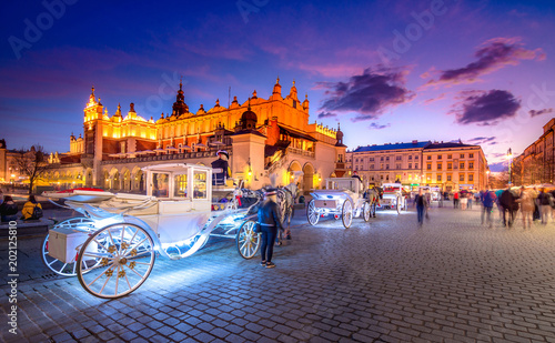 Old town market square of Krakow, Poland.