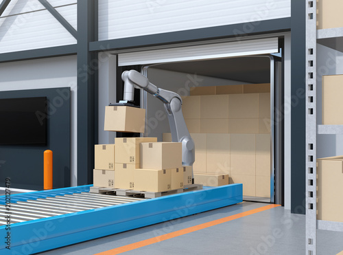 Fotografía Industry robot picking parcels from truck cargo container