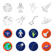 Planet Earth with continents and oceans, flying satellite, Ursa Major, UFO. Space set collection icons in outline,flet style vector symbol stock illustration web.