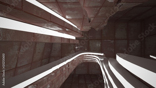 Photo Stands Stairs Empty smooth abstract room interior of sheets rusted metal and brown concrete. Architectural background. Night view of the illuminated. 3D illustration and rendering